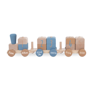 Holzzug Holz-Eisenbahn blau | Jollein | Personalisiert