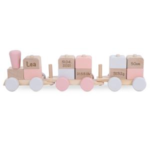 Holzzug Holz-Eisenbahn rosa | Jollein | Personalisiert mit Lasergravur