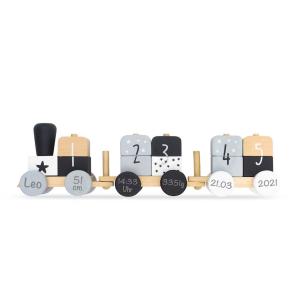 Holzzug Holz-Eisenbahn grau / weiß | Jollein | Personalisiert