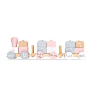 Holzzug Holz-Eisenbahn rosa / weiß | Jollein | Personalisiert