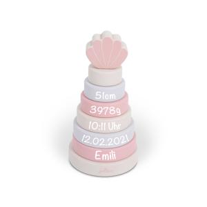 Holzspielzeug Ring-Stapelturm rosa | Jollein | Personalisiert