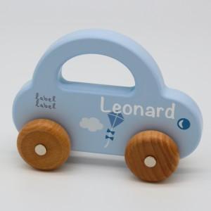 Holzauto blau   Label-Label   Personalisiert