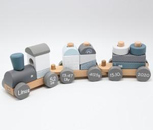 Holzzug Holz-Eisenbahn blau   Label-Label   Personalisiert