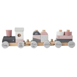 Holzzug Holz-Eisenbahn rosa | Label-Label | Personalisiert