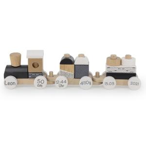 Holzzug Holz-Eisenbahn schwarz / weiß | Label-Label | Personalisiert