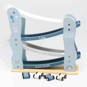 Holz Renn- Kugelbahn blau   Label-Label   Personalisiert