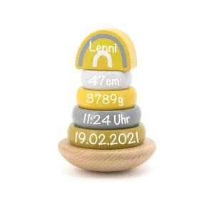 Holz Ring-Stapelturm gelb   Label-Label   Personalisiert