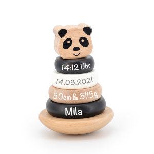 Holz Ring-Stapelturm Panda Schwarz / Weiß | Label-Label | Personalisiert