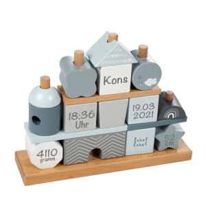 Holz Stapel- und Steckspiel Haus blau | Label-Label | Personalisiert