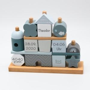 Holz Stapel- und Steckspiel Haus blau   Label-Label   Personalisiert