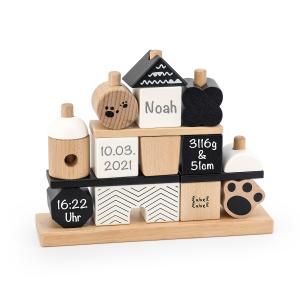 Holz Stapel- und Steckspiel Haus Panda | Label-Label | Personalisiert