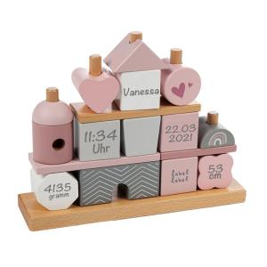 Holz Stapel- und Steckspiel Haus rosa | Label-Label | Personalisiert