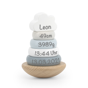 Holz Ring-Stapelturm blau | Label-Label | Personalisiert